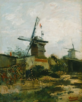 """Windmills on Montmartre"", 1886, Vincent van Gogh [Public domain], via Wikimedia Commons"