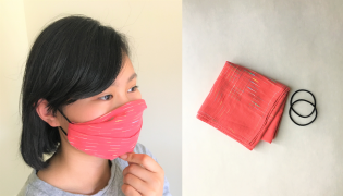 No-Sew Face Mask with Handkerchief and Hair Tie-2